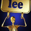 Golden skeleton holding the sign - Stok fotoğraf