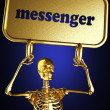 Golden skeleton holding the sign — Stock Photo #10382788