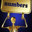 Golden skeleton holding the sign — Stock Photo #10384959