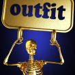 Golden skeleton holding the sign — Stock Photo #10385110
