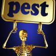Golden skeleton holding the sign — Stock Photo #10385429