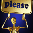 Golden skeleton holding the sign — Stock Photo #10385509