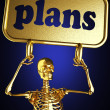 Golden skeleton holding the sign — Stock Photo #10385510