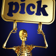 Golden skeleton holding the sign — Stock Photo #10385617