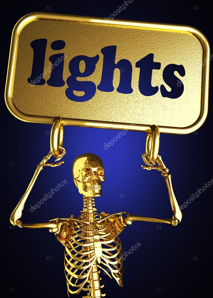 Golden skeleton holding the sign made in 3D — Stock Photo #10382395