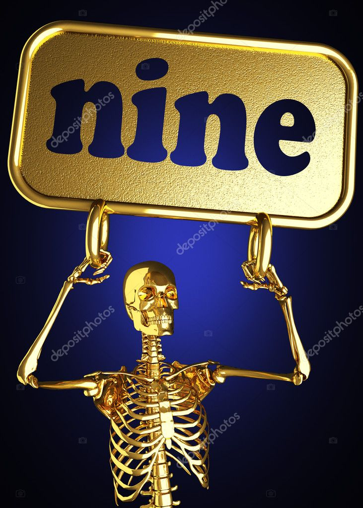 Golden skeleton holding the sign made in 3D  Stock Photo #10384806