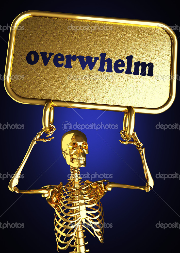 Golden skeleton holding the sign made in 3D  Stock Photo #10385160