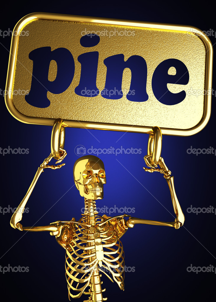 Golden skeleton holding the sign made in 3D — Stock Photo #10385705
