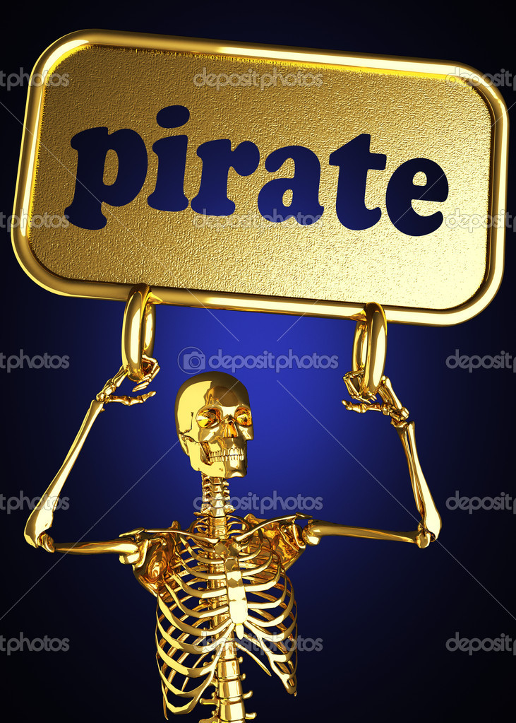 Golden skeleton holding the sign made in 3D — Stock Photo #10385722