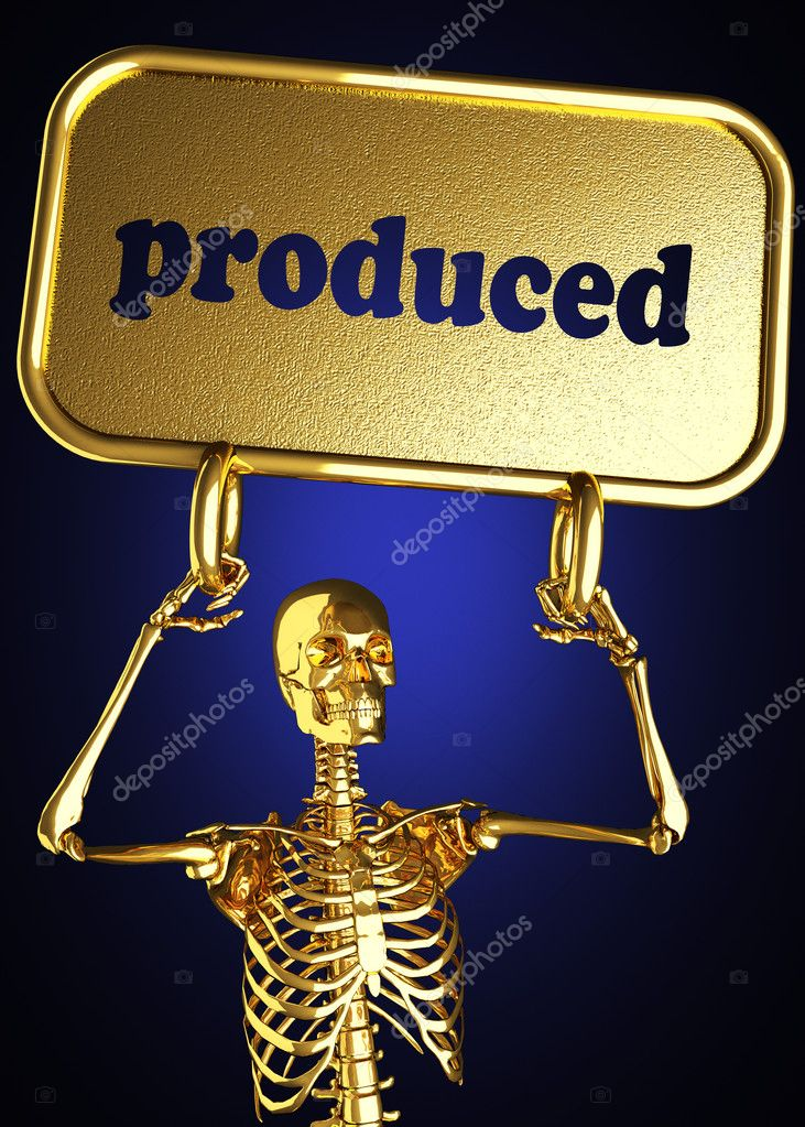 Golden skeleton holding the sign made in 3D — Stock Photo #10388458