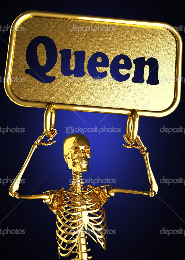 Golden skeleton holding the sign made in 3D — Stock Photo #10388570