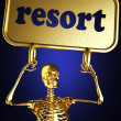 Golden skeleton holding the sign — Stock Photo #10397300