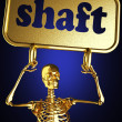 Golden skeleton holding the sign — Stock Photo #10397607