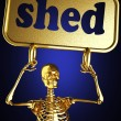 Golden skeleton holding the sign — Stock Photo #10397725