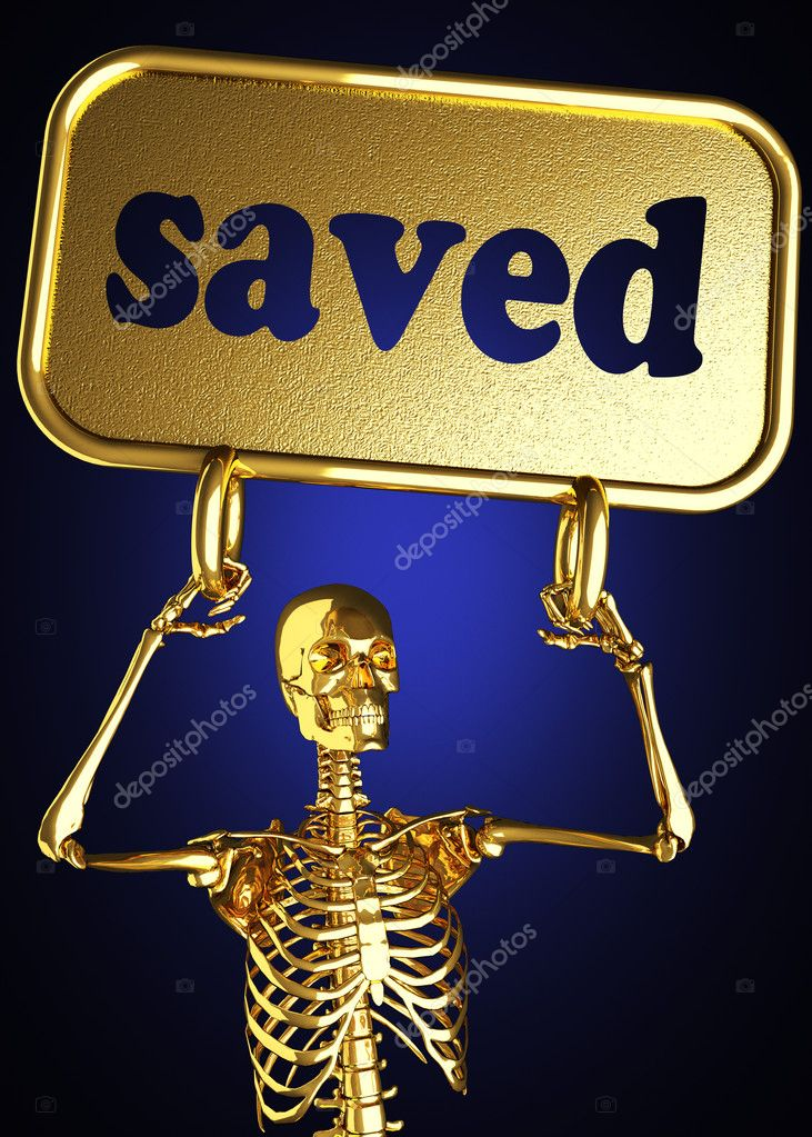 Golden skeleton holding the sign made in 3D — Stock Photo #10397907