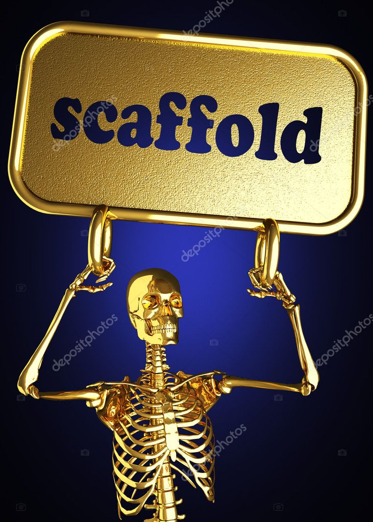Golden skeleton holding the sign made in 3D — Stock Photo #10397917