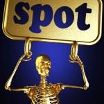 Golden skeleton holding the sign — Stock Photo #10402986
