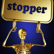 Golden skeleton holding the sign — Stock Photo #10403083