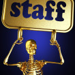 Golden skeleton holding the sign — Stock Photo #10403271