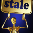Golden skeleton holding sign — Stock Photo #10403310