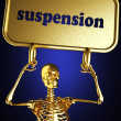 Golden skeleton holding the sign — Stock Photo #10406324