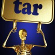 Golden skeleton holding sign — Stock Photo #10406438