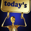 Golden skeleton holding the sign — 图库照片