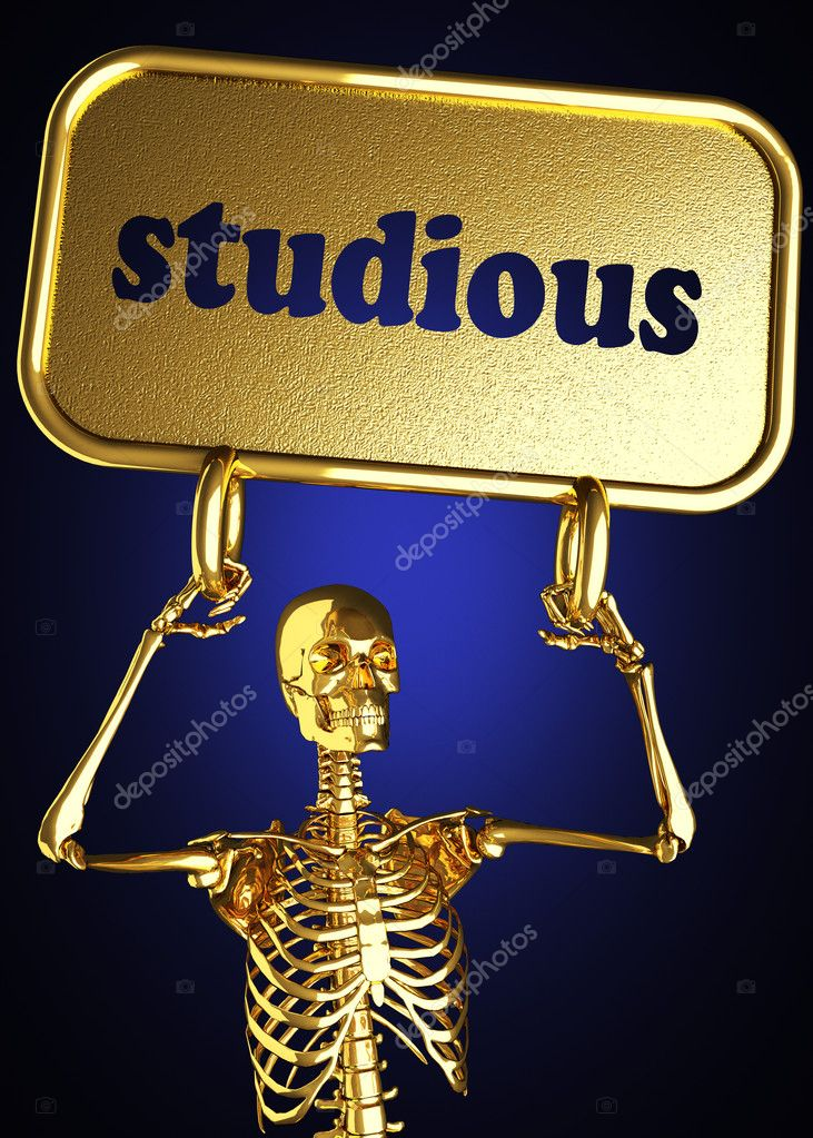 Golden skeleton holding the sign made in 3D — Stock Photo #10405595