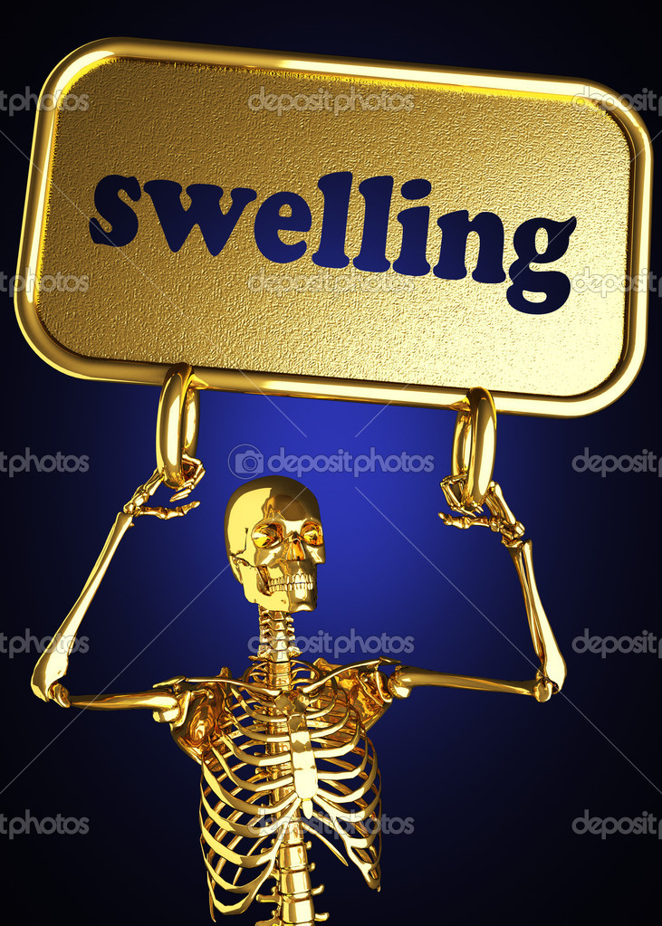 Golden skeleton holding the sign made in 3D — Stock Photo #10406339