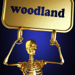Golden skeleton holding the sign — Stock Photo #10414625