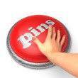 Stock Photo: Hand pushing button