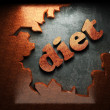 Red wood word on concrete — Stock Photo