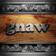 Iron word on wood - Foto de Stock