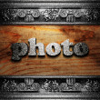 Iron word on wood — Stock Photo