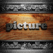 Iron word on wood — Stockfoto