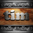 Iron word on wood - Stock Photo