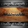 Iron word on wood - Stockfoto