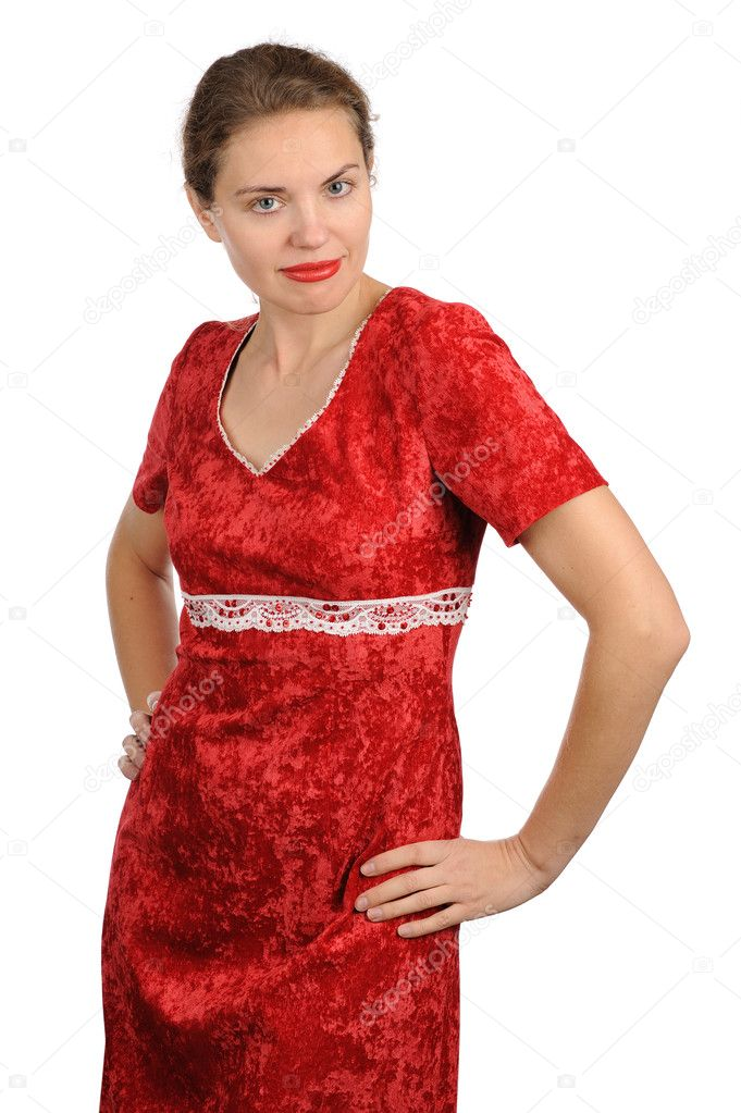 The young woman in red holds hands on a waist — Stock Photo #8107143