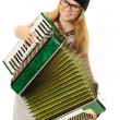 The girl plays an accordion - Stock Photo