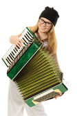 The girl plays an accordion — Stock Photo