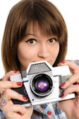 Gir with vintage camera — Stock Photo