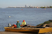 Argentinian fisherman on Parana river — Stock Photo