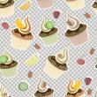 Vector seamless pattern with cupcakes, fruits and berries — Stock Vector