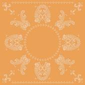 Pattern di quadrati paisley vettoriale in arancione — Vettoriale Stock