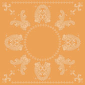 Vector paisley square pattern in orange — Cтоковый вектор