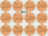 Vector seamless vintage lacy pattern with 2013 calendar — Stock Vector