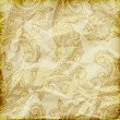 Vector seamless paisley pattern  on crumpled golden foil texture - 