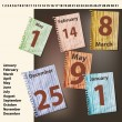 Royalty-Free Stock Obraz wektorowy: Vector sheets of calendar with international holidays dates