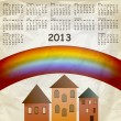 Vector 2013 calendar on abstract background with rainbow and old — Stock Vector