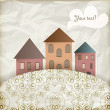 Royalty-Free Stock Vector Image: Vector retro background with old houses, place for your text